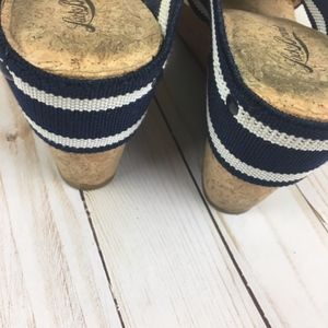 Lucky Brand Shoes - Lucky Brand Cork Blue Stripe Wedges